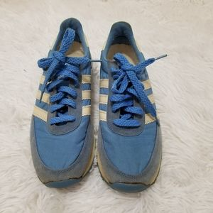 Vintage Adidas Nancy Sneakers, Blue and White, 6